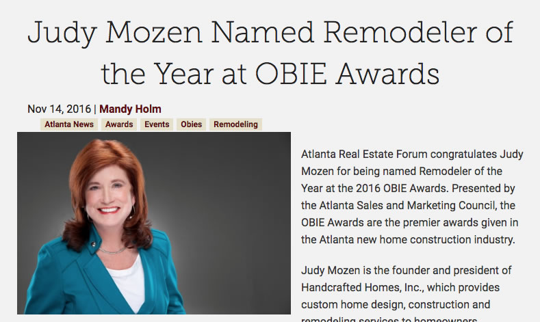 Judy Mozen Named Remodeler of the Year at OBIE Awards