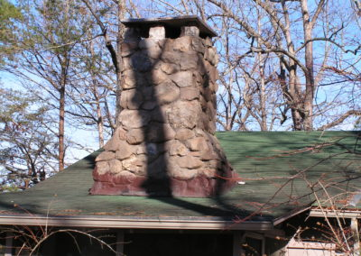 Close-up view of stone chimney
