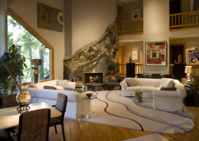 Wood-Burning Fireplace in Living Room
