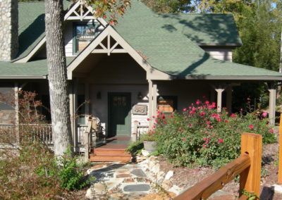 Front view of remodeled lakeside cabin