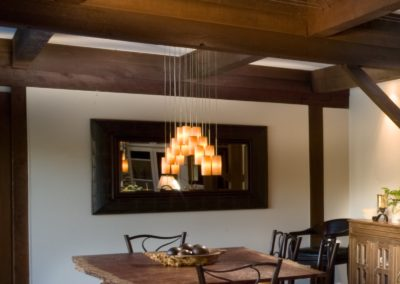 View of rustic dining area in remodeled kitchen